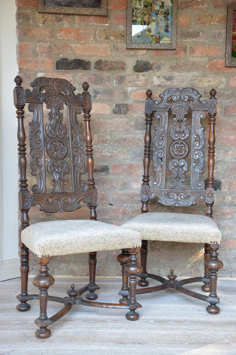 Pair of 19th high backed side chairs