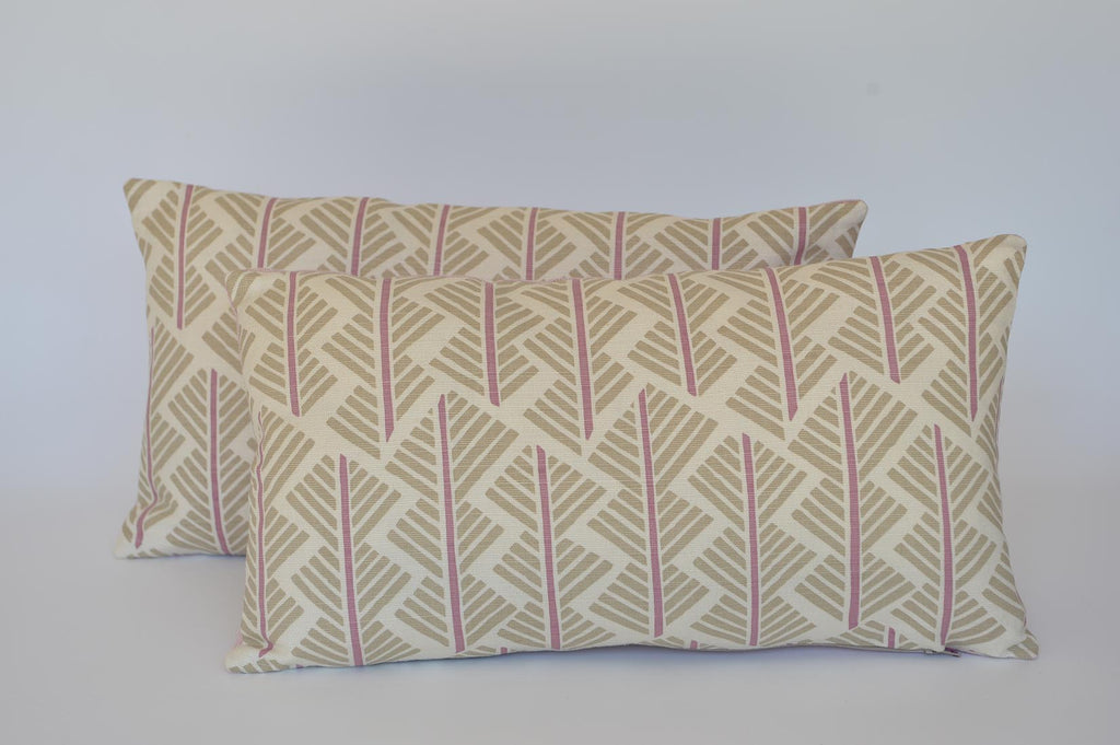Pink Feathers cushion with Rapture & Wright fabric