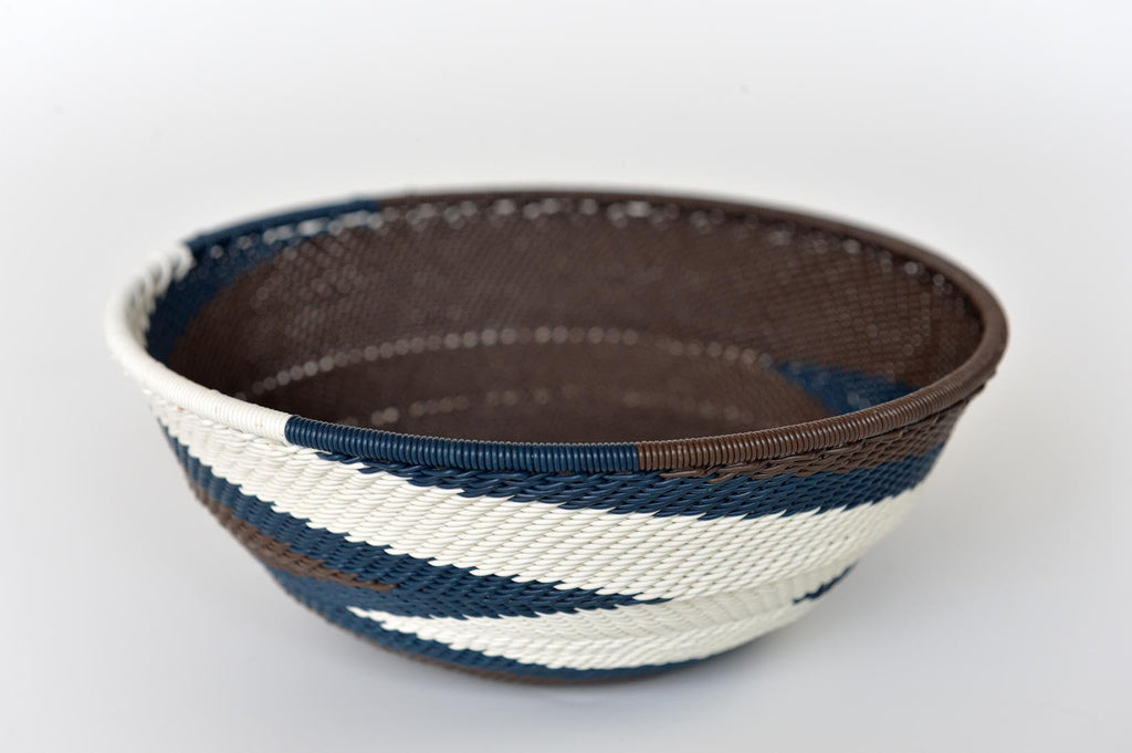 Zulu basket bowl - Brown, blue & white - L'Atelier Natalia Willmott