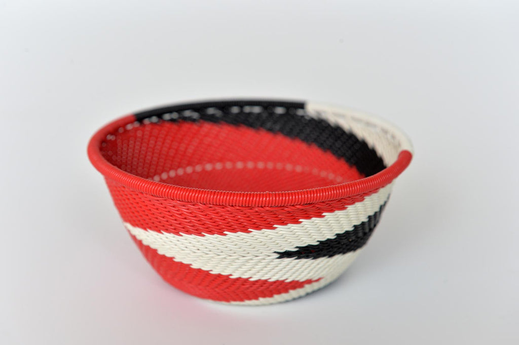 Zulu basket bowl - Red, black & white - L'Atelier Natalia Willmott