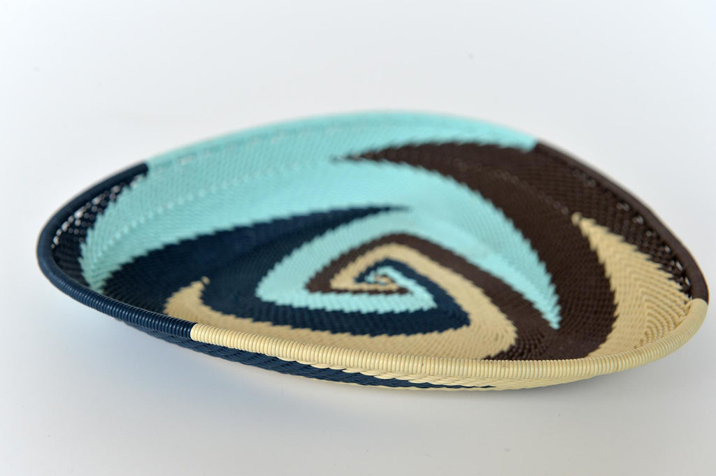 Zulu triangular basket plate - blues and browns - L'Atelier Natalia Willmott