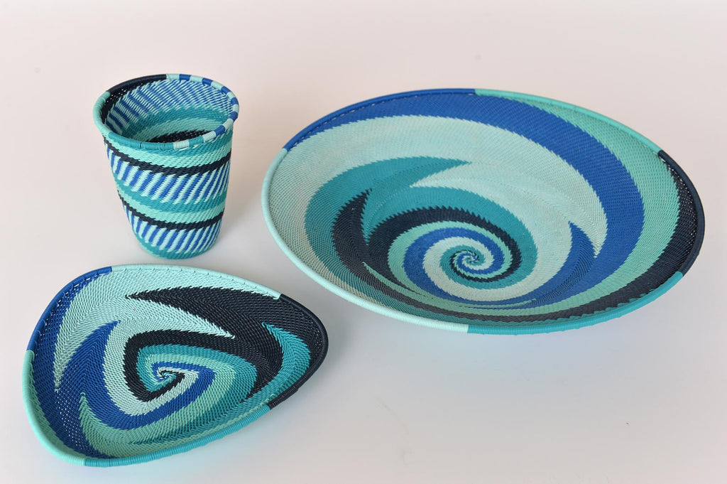 Zulu basket plates and cup - blues & turquoise - L'Atelier Natalia Willmott