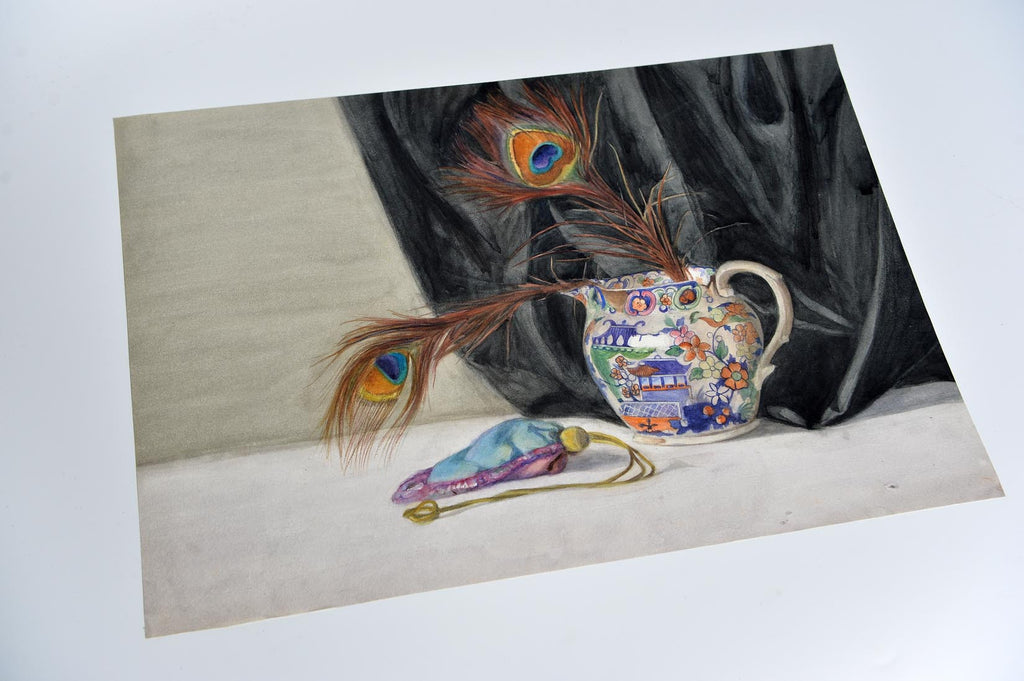 Still life watercolour on paper by Hilda Clegg - Feathers - L'Atelier Natalia Willmott
