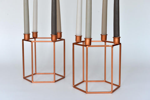 Hexagonal copper candleholder - L'Atelier Natalia Willmott