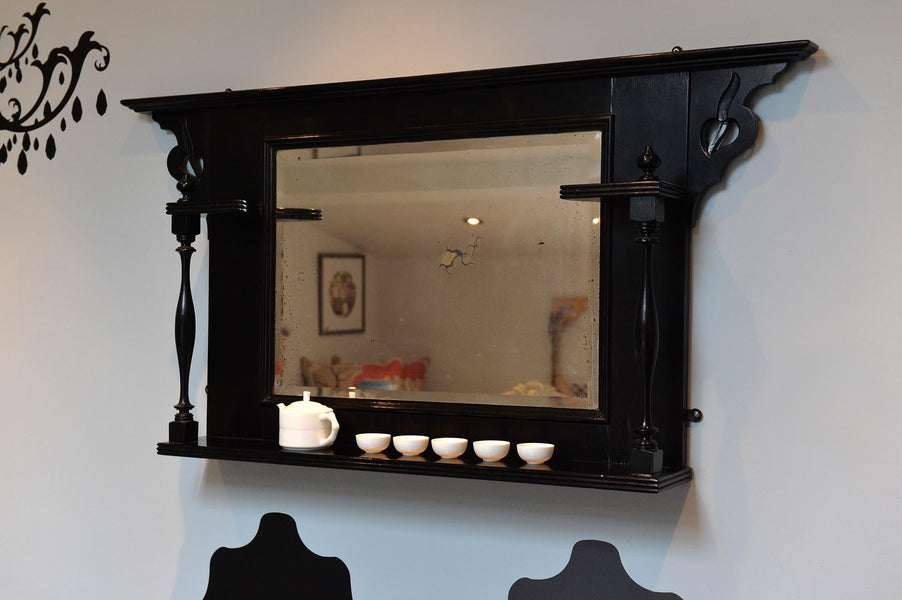 Art Nouveau ebonised overmantle mirror - L'Atelier Natalia Willmott