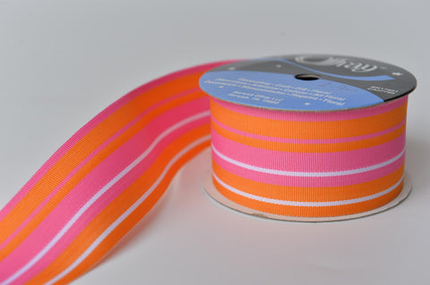 Orange and pink wide cotton ribbon - L'Atelier Natalia Willmott