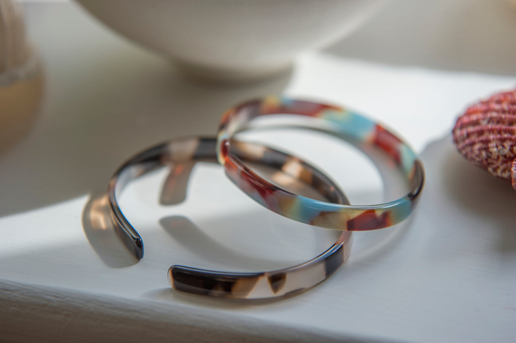 Acetate bangle - pink / turquoise calico - L'Atelier Natalia Willmott