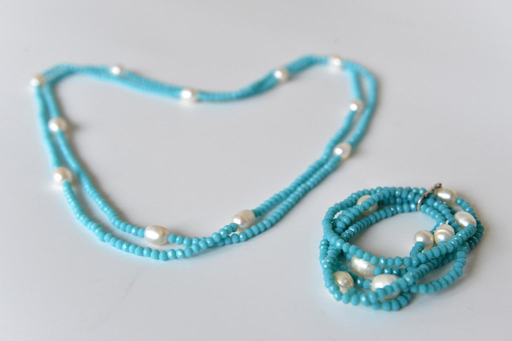 Bead and pearl necklace and bracelet in turquoise - L'Atelier Natalia Willmott