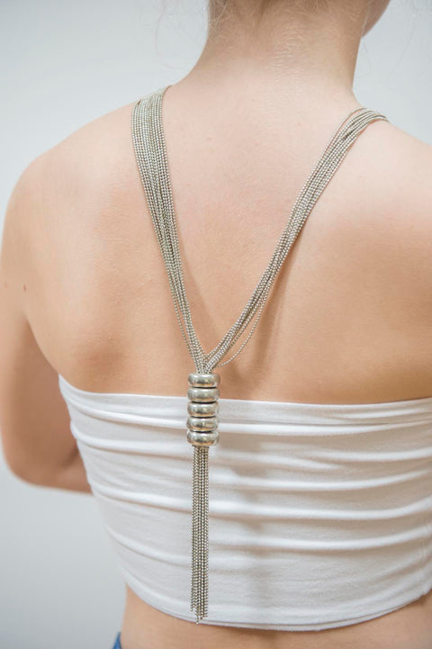 Tie fringed silver necklace