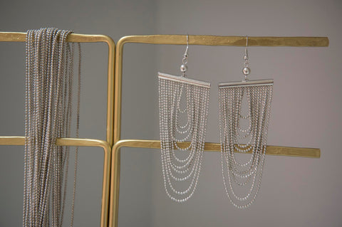 Silver metal chain earrings - L'Atelier Natalia Willmott
