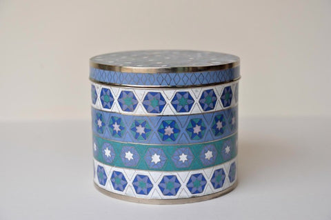 Blue geometric cloisonné box - large - L'Atelier Natalia Willmott