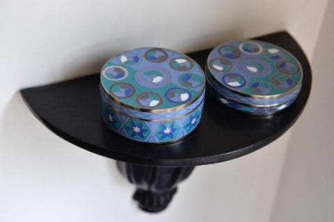 Blue geometric cloisonné box - medium - L'Atelier Natalia Willmott