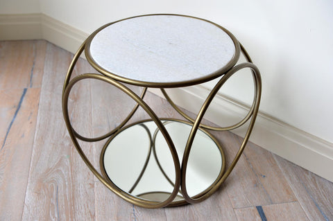 Marble and brass round coffee table - L'Atelier Natalia Willmott