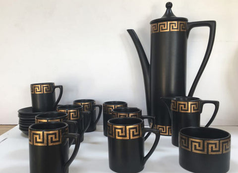 Portmeirion Greek Key coffee set