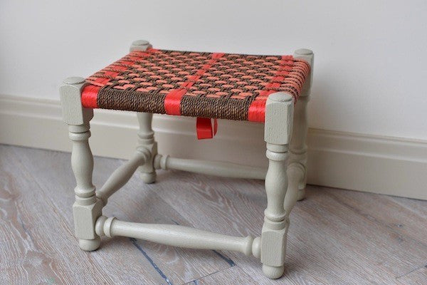 Vintage stool with seagrass woven seat in oranges - L'Atelier Natalia Willmott