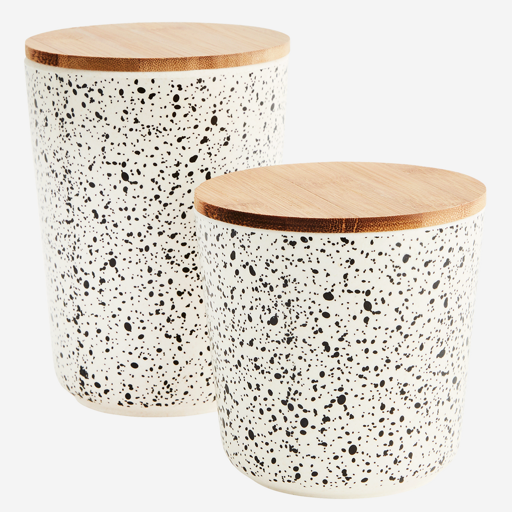 Speckled round containers with lids - L'Atelier Natalia Willmott