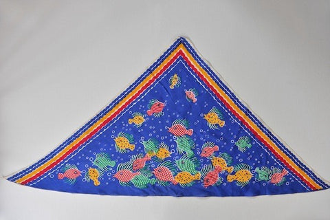 Vintage triangle 'fish' silk scarf - L'Atelier Natalia Willmott