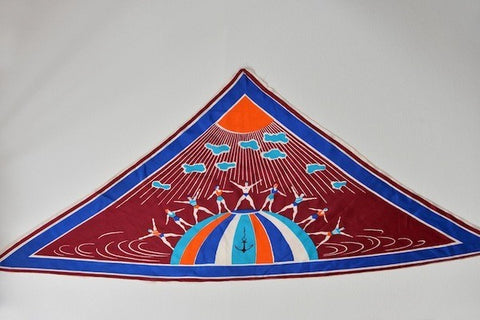 Vintage triangle 'Swimmers' silk scarf - L'Atelier Natalia Willmott