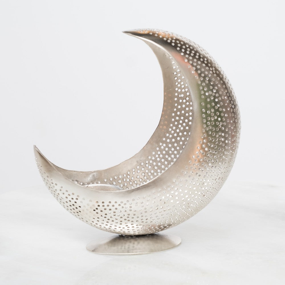 Crescent moon tealight holder - silver - L'Atelier Natalia Willmott