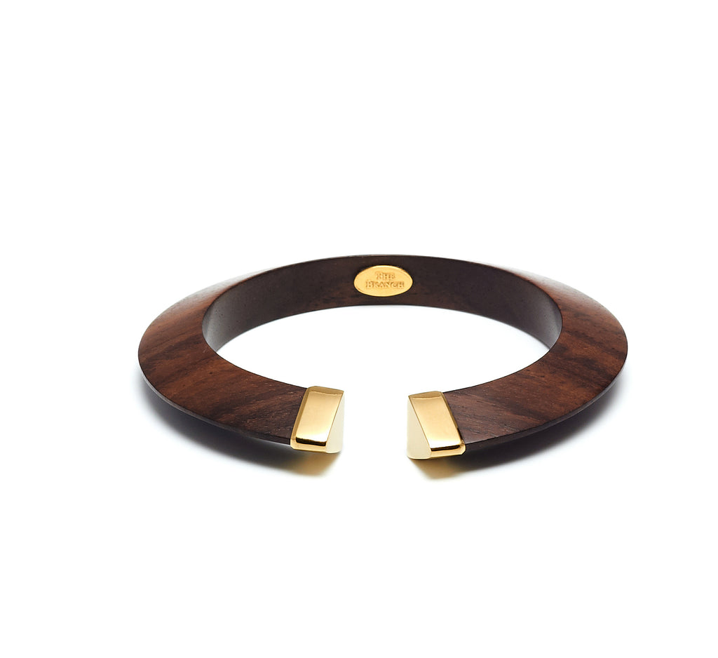 Shaped bangle with gold plated capped ends