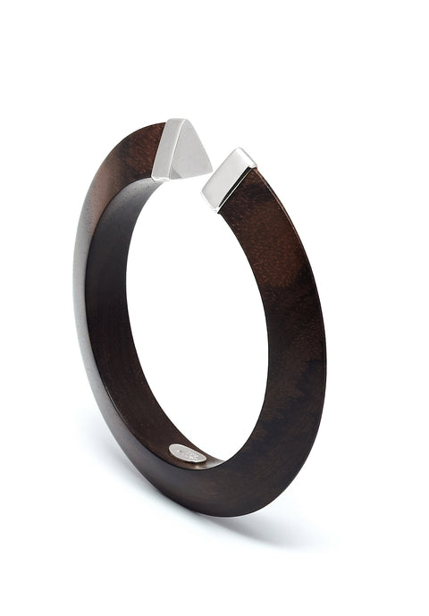 Shaped bangle with sterling silver capped ends - L'Atelier Natalia Willmott