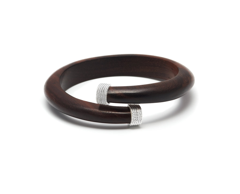 Dark wood spiral bangle with silver caps - L'Atelier Natalia Willmott