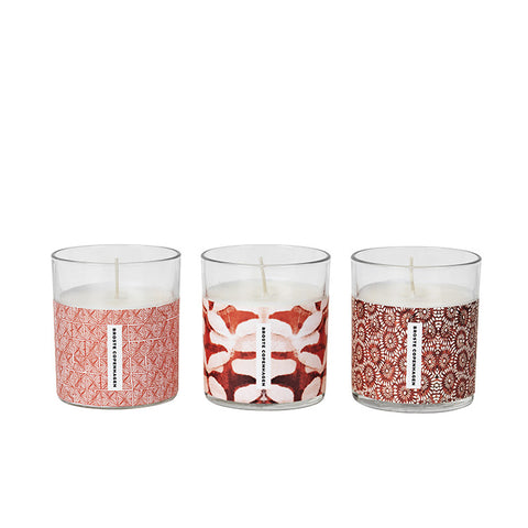 Summer candle in a glass container : blue or red - L'Atelier Natalia Willmott
