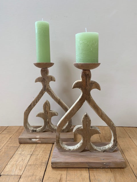 Heart - wooden candle holders pair - L'Atelier Natalia Willmott