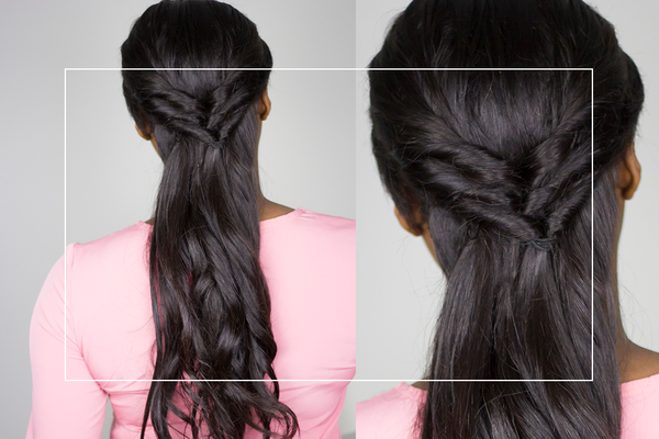 Christmas Hairstyle: Triple Twisted Half Updo