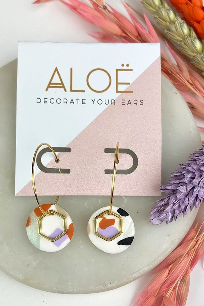 Load image into Gallery viewer, 24k Gold Mini Terrazzo Hoops - ALOË at The Bias Cut