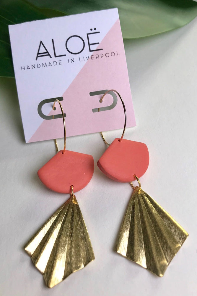 24k Gold Plated Coral Clay & Hammered Brass Earrings - ALOË