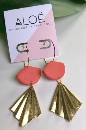 24k Gold Plated Coral Clay & Hammered Brass Earrings - ALOË at The Bias Cut