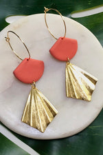 24k Gold Plated Coral Clay & Hammered Brass Earrings