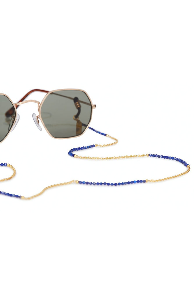 24k Gold Plated Lapis Lazuli Glasses Chain & Bracelet