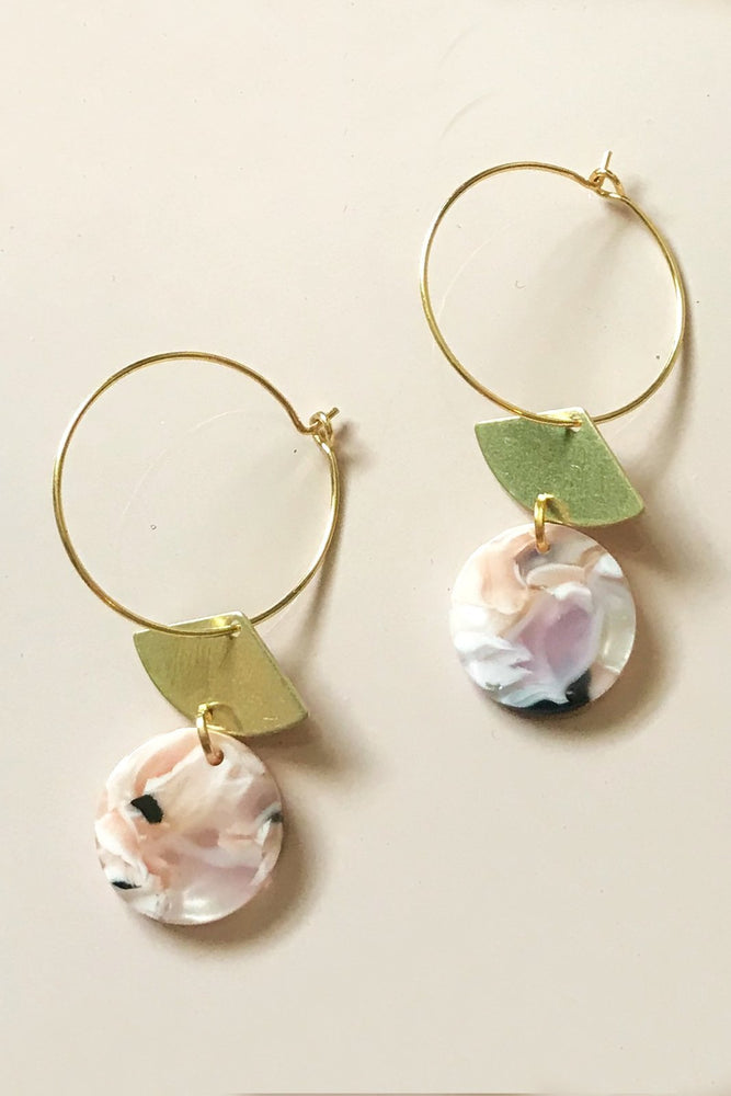 24k Gold Plated Marble Fan Hoops