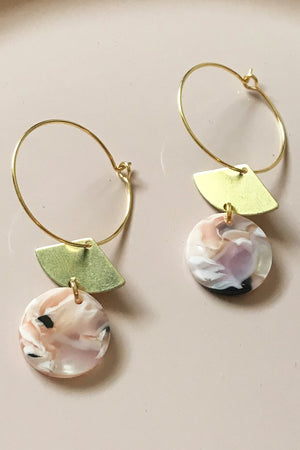 24k Gold Plated Marble Fan Hoops - ALOË at The Bias Cut