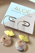 24k Gold Plated Marble Fan Hoops - ALOË