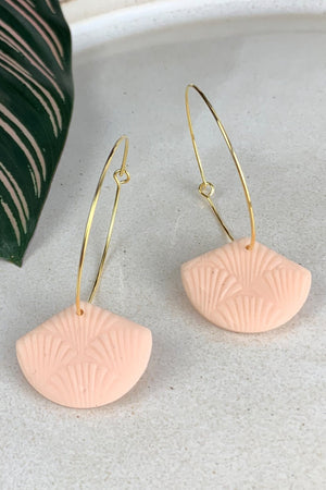 24k Gold Plated Peach Shell Fan Hoops - ALOË