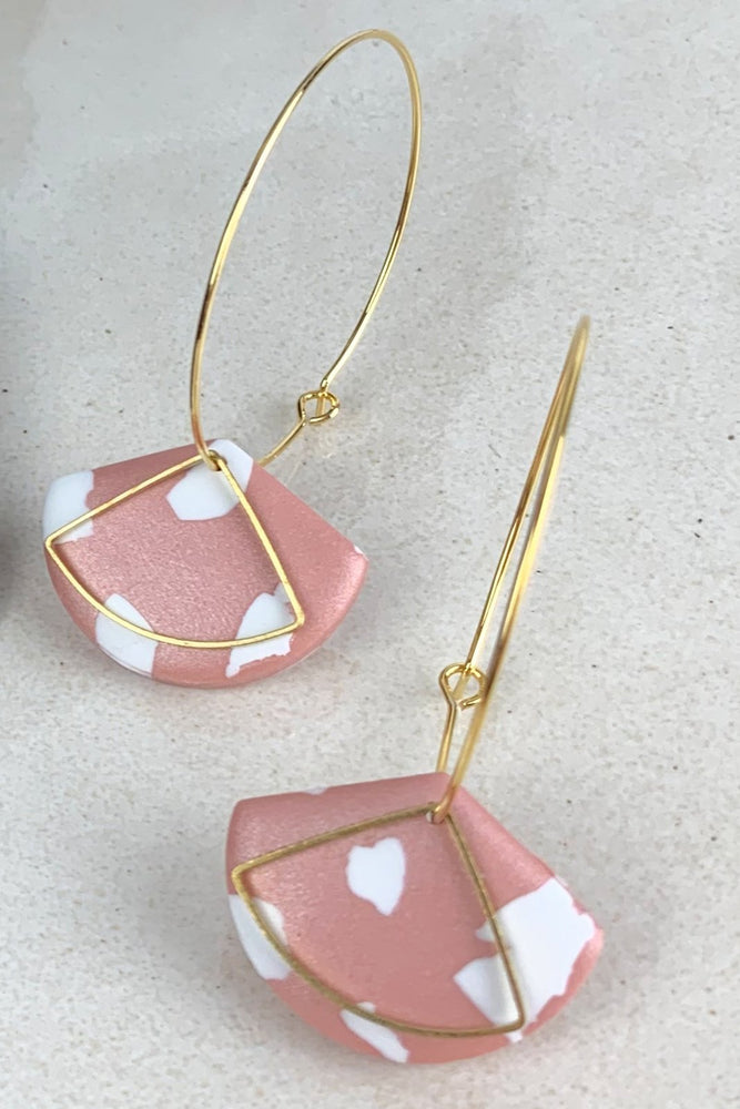 24k Gold Plated Pink Terrazzo Fan Hoops - ALOË at The Bias Cut