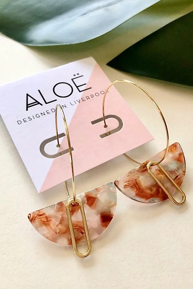 24k Gold Plated Translucent Marble Half Moon Hoops - ALOË
