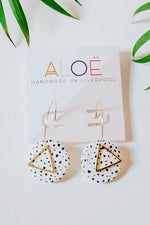 24k Gold Plated White Dalmatian Disk Hoops - ALOË at The Bias Cut