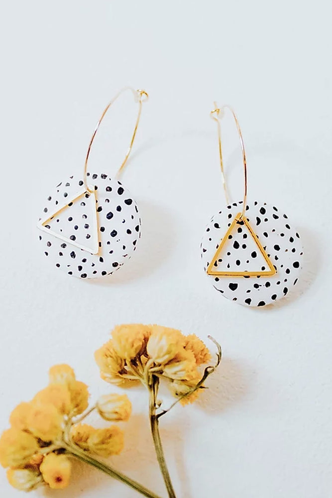 24k Gold Plated White Dalmatian Disk Hoops