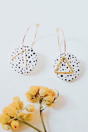 24k Gold Plated White Dalmatian Disk Hoops - ALOË