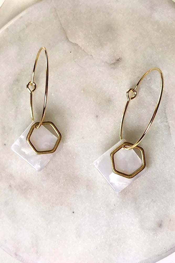 24k Gold Plated White Marble & Hexagon Hoops