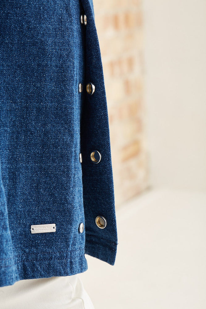 Scotch & Soda Indigo Denim Trench Coat in 100% Cotton at The Bias Cut