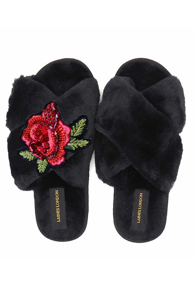 Rose Black Fluffy Slippers