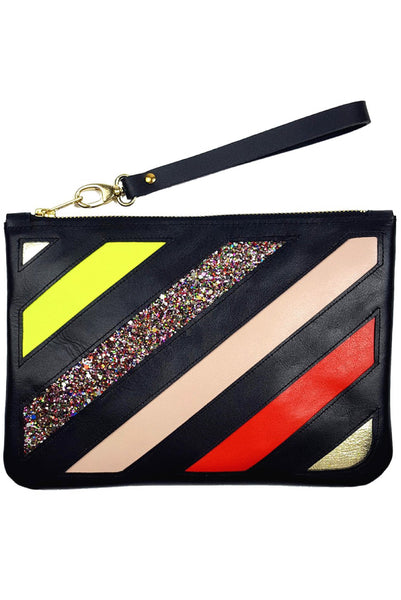 Do Not Cross Applique Leather Clutch/Crossbody Bag