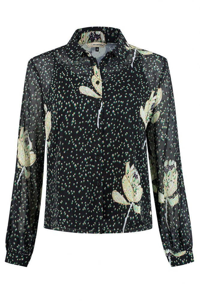 POM Amsterdam Artichoke Kisses Printed Black Blouse at The Bias Cut