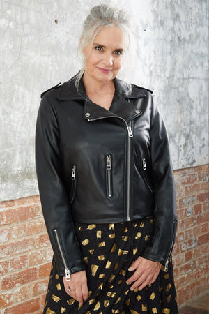 Load image into Gallery viewer, Beau Faux Leather Biker - Jakke at The Bias Cut