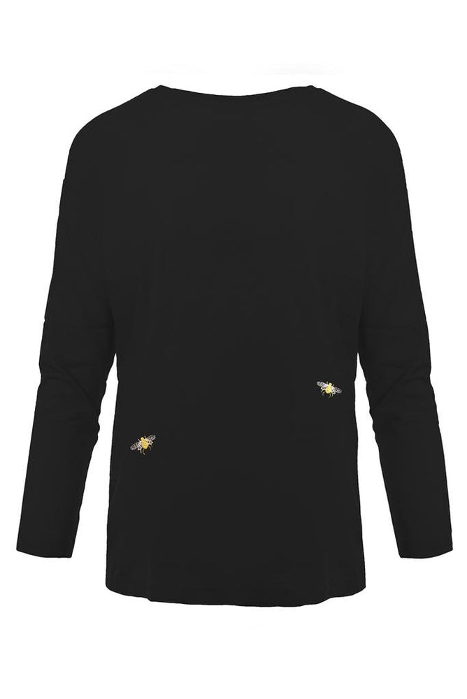 Bee Embroidered Dropped Shoulder T-Shirt Black - Ingmarson at The Bias Cut